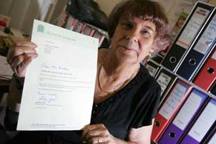 Costly letters: Ann Berkane with one of the letters Ann Keen sent out on Commons stationery which cost a total of £4,500 and was against parliamentary rules