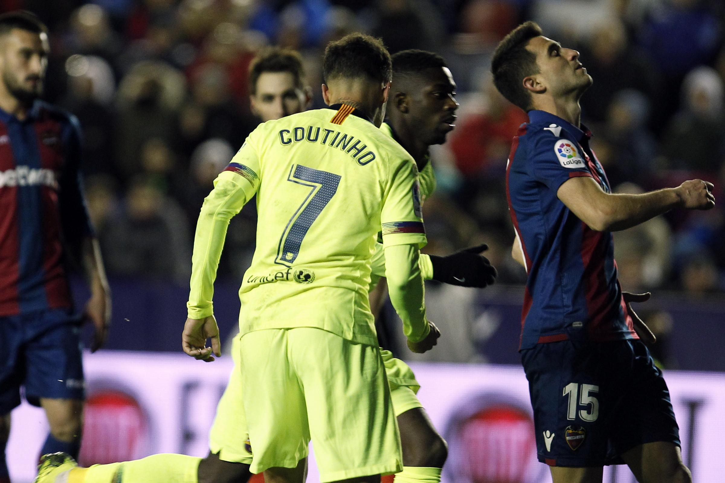 Philippe Coutinho scored late on for Barca