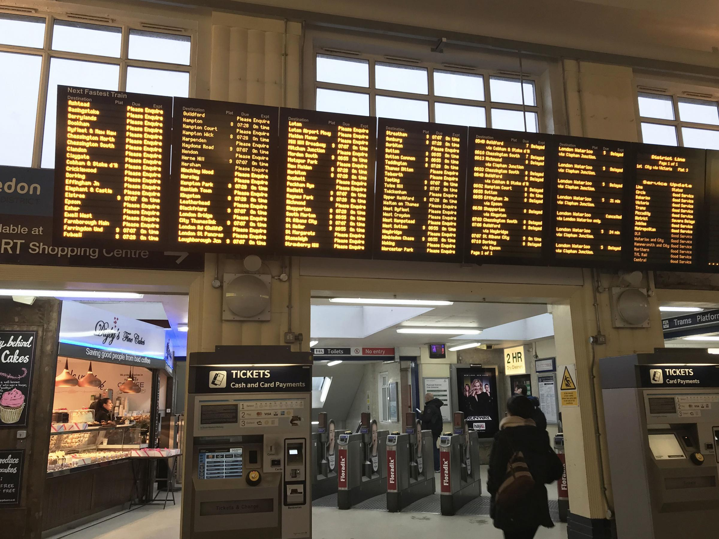 Departure screens at Wimbledon train station in London as overrunning engineering work at London Waterloo, the UK's busiest railway station, has caused major rush hour disruption. PRESS ASSOCIATION Photo. Picture date: Friday March 22, 2019.