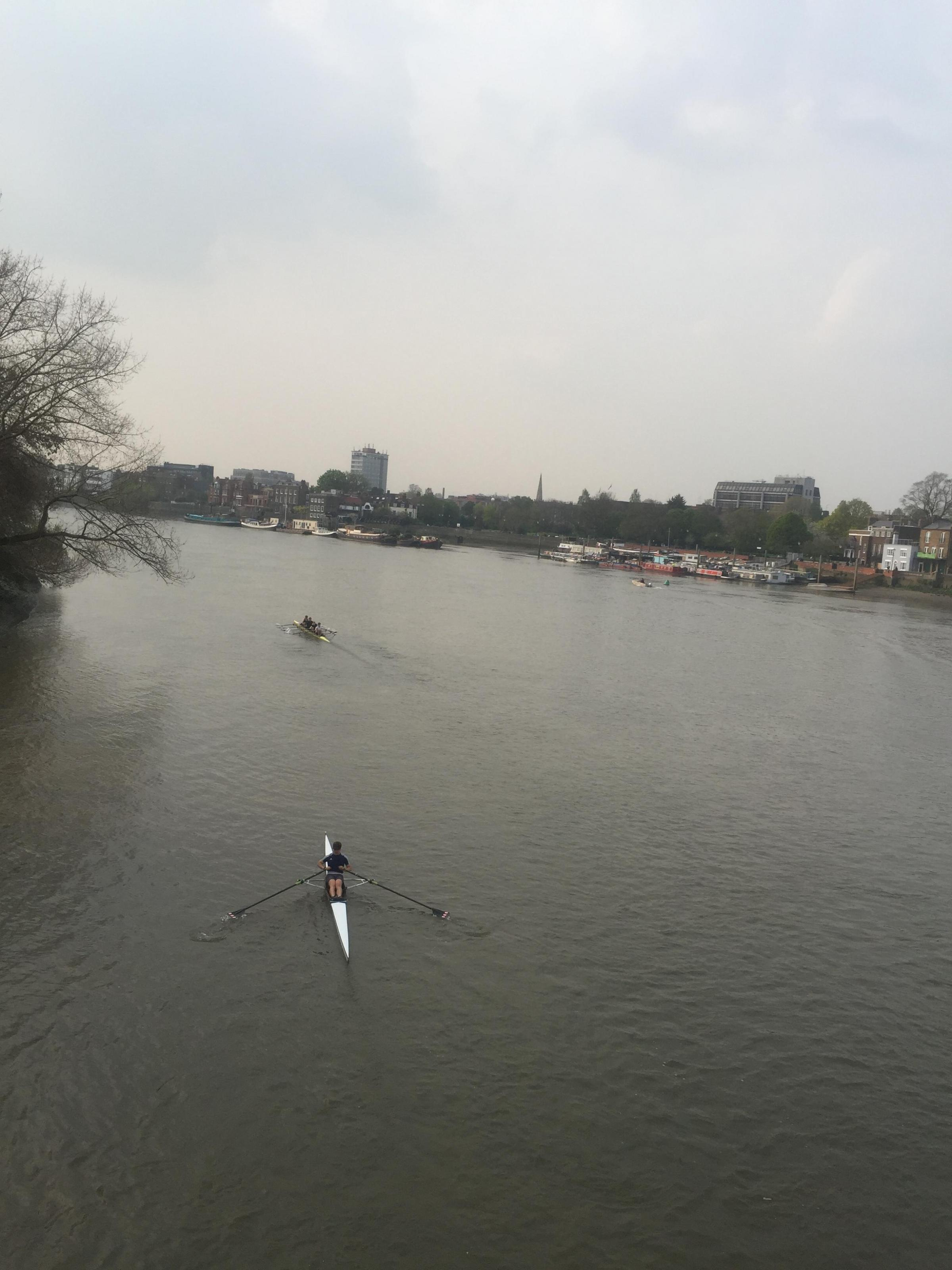 Location of the River Thames from Hammersmith Bridge where the Boat Race took place