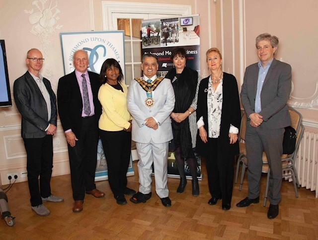 L to R Sean Gillen, Cabinet Member Cllr Acton, Euphrasie Mundele- Kilolo, Mayor Cllr Khosa, Chamber's Anne Newton, Council's Susan Shaw and Steve Diamond