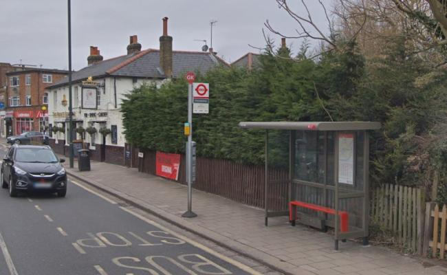 The Bus stop opposite Twickenham Green where the assault took place