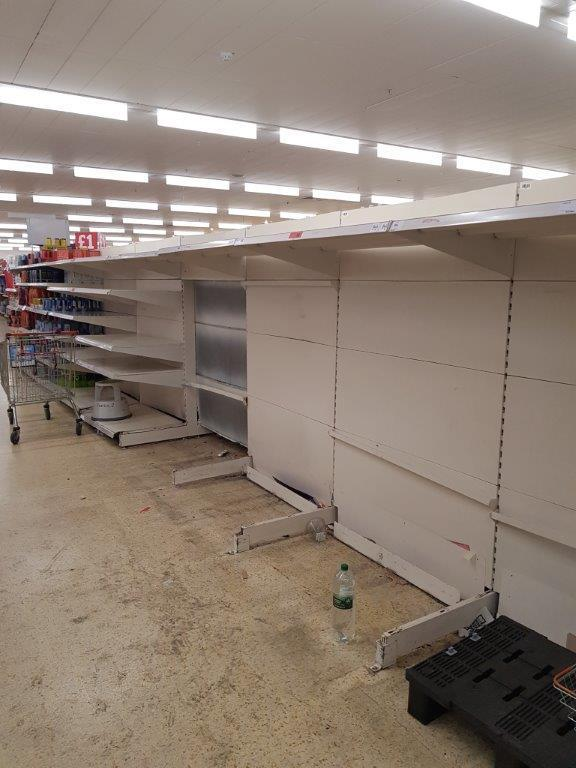 Empty shelves at Hampton Hill Sainsbury's